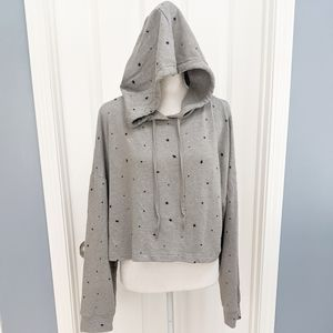 Wild Cable Gray Star Cropped Hooded Sweatshirt XL